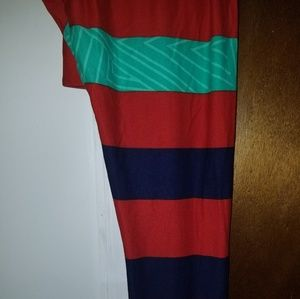 BNWT Red, navy blue and teal green stripe leggings